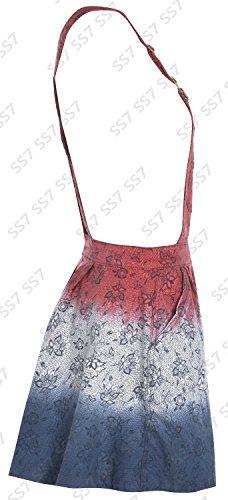 nouvelles femmes Salopette Robe En Jeans Taille 8 10 12 14 Tie And Dye Rouge