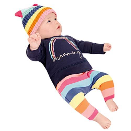 Hirolan Kinderkleidung Unisex Baby Kinderkleidung Casual Regenbogen Besticktes Briefoberteil + Gestreifte Tarnhose 2Pcs Set Outfit Kleidung Tracksuit Pullover -