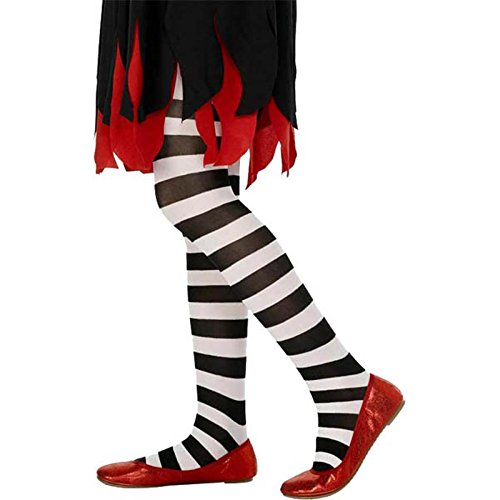 Smiffy's - Tights Black and White Striped, Age 6-12