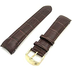 Rotary Style Dark Brown Luxury Crocodile Grain Leather Curved End Quality Generic Watch Strap Gold Plated Buckle