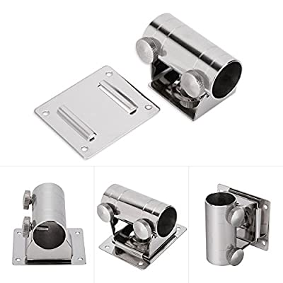 Dilwe Fishing Umbrella Base Stand, Quality Adjustable Stainless Steel Umbrella Fix Bracket with Mounting Plate and Screws for Fishing Box Chair from Dilwe