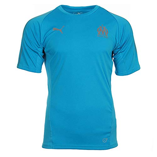 Puma Olympique de Marseille Training Jersey SS Without Sponsor Lo Maillot Homme, Bleu Azur, FR : 2XL (Taille Fabricant : XXL)