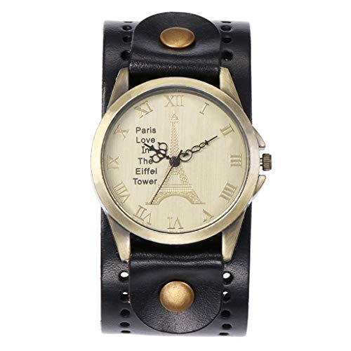 Preisvergleich Produktbild Luckhome Damen-Armbanduhr Analog Quarz LederCCQ Schöne Mode Einfache Uhr Damen Ledergürtel Uhr Für Geschenk 2019Schwarz