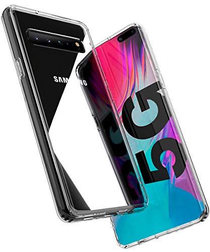 OCYCLONE Hülle Kompatibel mit Samsung Galaxy S10 5G, [Gehärtetes Glas Rückseite] Hybrid Crystal Clear mit TPU Bumper Transparent Dünn Slim Durchsichtige Schützhülle für Samsung Galaxy S10 5G - Klar