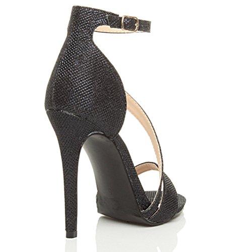 Damen Hoher Absatz Kaum Dort Asymmetrisch Gekreuzten Riemen Elegant Sandalen Schuhe Größe Schwarz Glitzerstaub