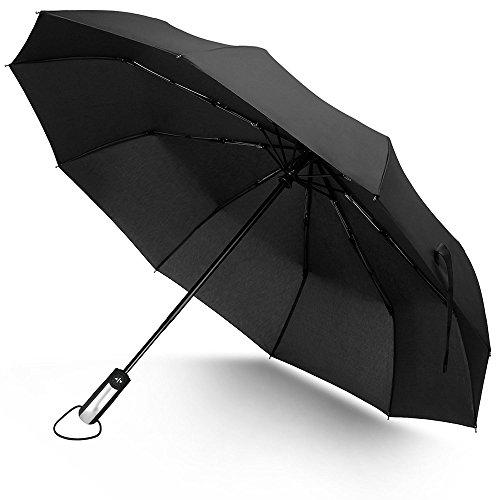 Ombrello Pieghevole da Viaggio 10 Stecche Rinforzate Anti-Vento Automatico, Funzione Anti-Vento, Nero