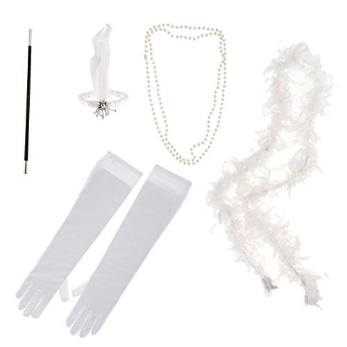 P Prettyia 1920s Flappers Set Damen Gatsby Kostüm Accessoires Set Inklusive Stirnband Halskette Handschuhe Zigarettenspitzen und Schal (5er-Set) - Weiß