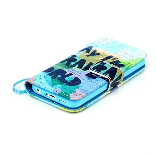 für Apple iPhone 5C Lederhülle, Yihya Dünne PU Leder Hülle Wallet Flip Case Tasche mit Stand Halter, Kreditkarten Steckplätze Klappbar Etui Cover Schutzhülle + Stift - Muster Rote Regentropfen Karte