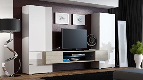 """BMF """"Torro"""" Wohnwand TV-Unterschrank TV-Ständer mit LEDs, Glas-Regal Hochglanz-Optik"""