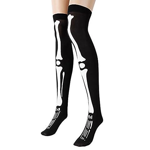 Eleery Women's Halloween Cosplay Skeleton Bone Printed Over The Knee Socks
