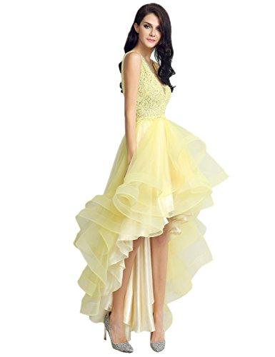 Ikerenwedding - Robe - Sans Manche - Femme Small Jaune
