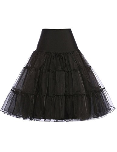 cooshional Damen Rock Vintage Reifrock Petticoat Unterrock Retro Hochzeit Schwarz