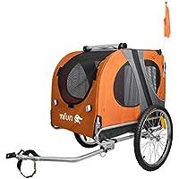NFUN Remolque de Bicicleta para Perros Naranja Gris