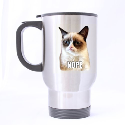 Funny conçu pour tête de chat Motif Mug de voyage en inox Argenté 396,9 gram à café/thé Mug – Cadeau personnalisé pour anniversaire, Noël et nouvel an