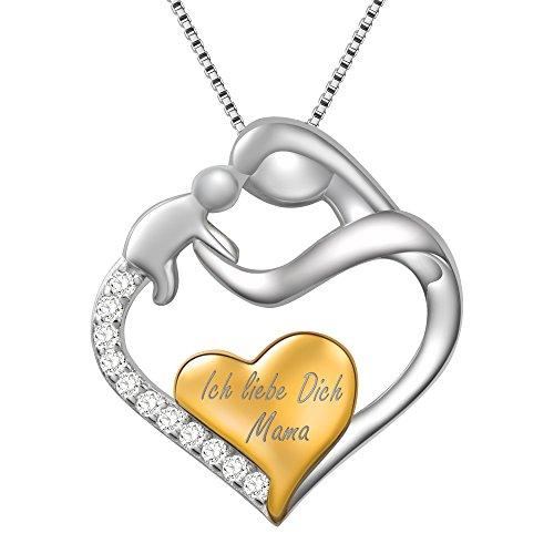 """Dawanza-Muttertag Geschenk Halskette für Frauen 925 Sterling Silber-Herz Anhänger Mama und Baby mit Zirkonia Gravur """"Ich liebe dich Mama""""-Feine Schmuckkette enthalten"""
