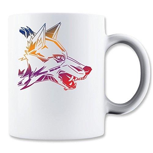Angry Wolf Head Rainbow Colors Mug