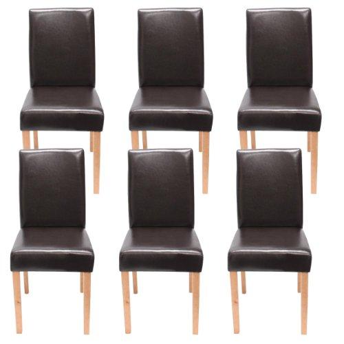 Lot de 6 chaises de séjour Littau, cuir reconstitué marron, pieds clairs