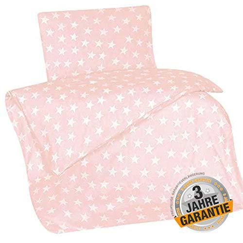 Aminata kids Sterne Bettwäsche 100x135 cm + 40 x 60 cm aus Baumwolle mit Reißverschluss, unsere Kinderbettwäsche, Babybettwäsche mit Stern-Motiv ist weich und kuschelig, rosa, weiß, Rose