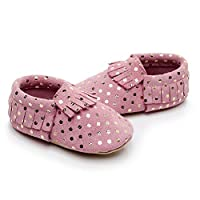 Bebila Mermaid Baby Shoes Soft Leather Toddler/First Walk Baby Moccasins for Infant Girls Boys Pink Size: 18-24 Months Toddler