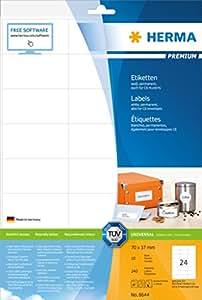 Herma 8644 Adressetiketten (Premium A4 Papier matt, 70 x 37 mm) 240 Stück weiß