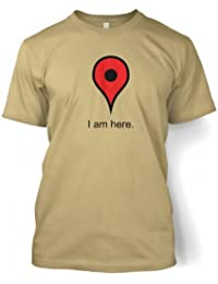 "Google Maps I Am Here T-shirt (XX-Large (50/52"")/Tan)"