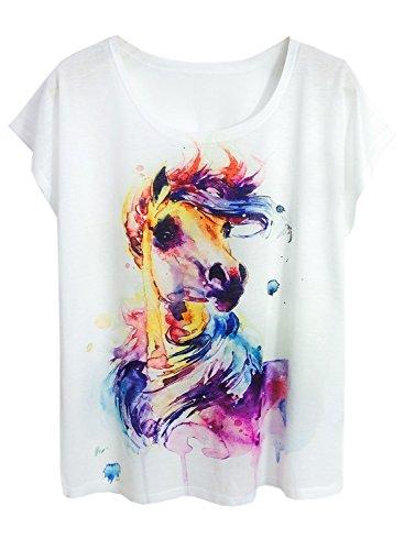 FUTURINO Damen Traum Mysterious Tshirt Pferd Drucken Kurzarm Tops Casual Tee L Pony311