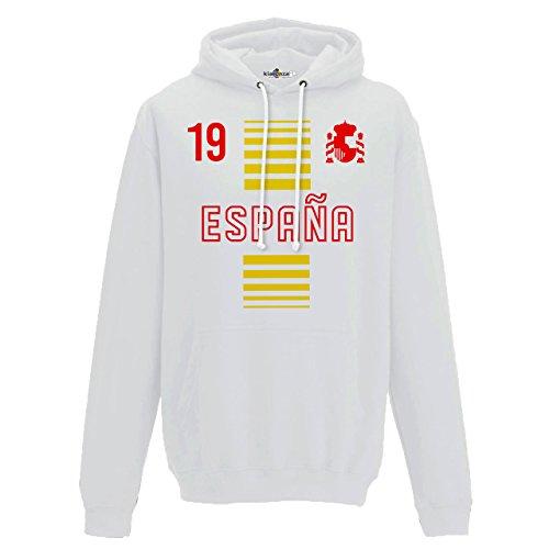 Felpa Cappuccio Uomo Nazionale Sportiva Espana Spagna 19 Calcio Europa Scudo 2 KiarenzaFD Streetwear Arctic White