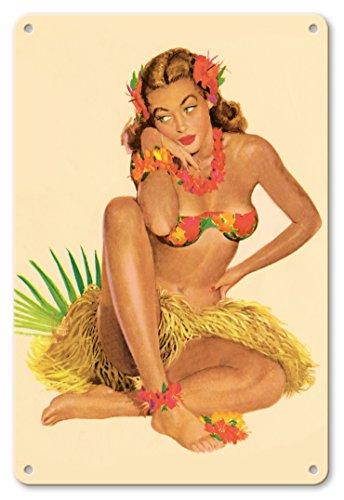 Pacifica Island Art 22cm x 30cm Vintage Metallschild - Hawaiisch Pin-Up-Mädchen - Juni 1949 Kalender von Al Moore c.1949 (Vintage Pin-up-kalender)