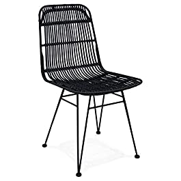 Alterego Chaise Design 'Panama' en rotin Noir