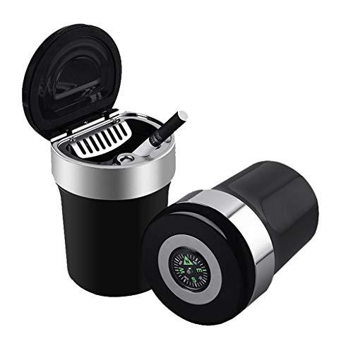 Cendrier de voiture en acier inoxydable multi-fonction créatif avec boussole, lampes LED, matériau ABS ignifuge, voiture universelle personnalisée avec couvercle et cendrier à cendres, facile à nettoy