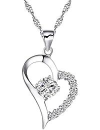 Chaomingzhen Charm rhodiniert Halbzeit Zirkonia Sterling Silber Herz Anhänger Halskette Damen Kette