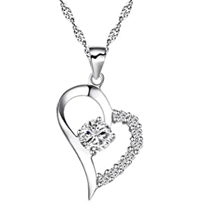 Chaomingzhen Cubic Zirconia 925 Sterling Silver Rhodium Plated Half Heart Pendant Necklace Women