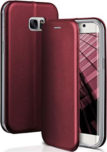 OneFlow® Premium Booklet mit unsichtbarem Magnetverschluss + Aufstellfunktion kompatibel mit Samsung Galaxy S7 Edge   Exklusive Lederoptik, Wein-Rot