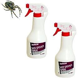 2 Flaschen Sparpack Anti Spinnen Spray a 500ml - 1 Liter Antispinnenspray von Yachticon tötet vertreibt Spinnentiere - einfach auf Insekt Spinnetier aufsprühen - gegen Spinne Laus Floh Milbe Mücke Zecke Krätze Wespe Aedes-Mücke wirkt vorbeugend