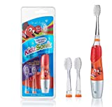 Brush-Baby KidzSonic Electric Toothbrush   Stage 3-Kids   6+ Years   Flashing Disco Lights, Soft Vibrations & 2 min Timer Make Brushing Fun  Red, Includes 3 Replacement Heads & 1 AAA Battery