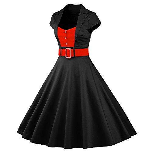 iLover 50s Retro vintage Rockabilly kleid Hepburn Stil shirt Partykleid Cocktailkleid - 2