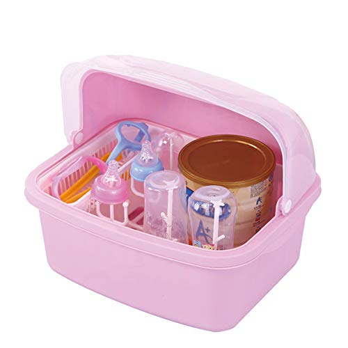 Bottle Storage Box Portable Baby Cutlery Storage Box Milk Powder Box Baby Bottle Rack Drying Rack With Cover Dustproof Portable Baby Supplies Storage - Baby-boden Butter