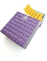 Caja de cigarrillos de tamaño normal para 21 cigarrillos, apertura automática, plástico, Morado, Dimensions: 9.5cm…