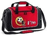Mein Zwergenland Sporttasche in Rot mit Namen, 38 L, Fußball gelb 12