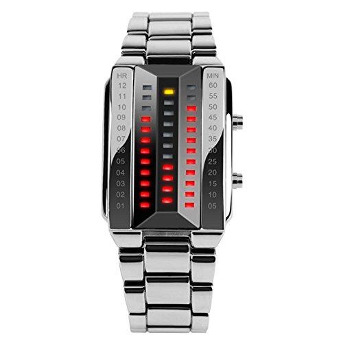 Stilvolle kreative LED wasserdichte Armbanduhr , Silver