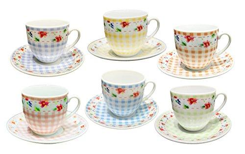 Borella Casalighi Debora Caffe Set mit Teller, Porzellan, Farben Sortiert, 12Einheiten