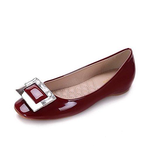 Aalardom diamanten Absatz Material Zehe Schuhe Auf Quadratisch Damen Weiches Niedriger Weinrot Pumps Ziehen g4wnqSUg