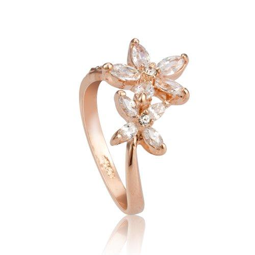 Fashion Plaza da donna in oro rosa, motivo: fiori con due Rhinstones R429-Anello, colore: trasparente (Anello Fiore Crystal Rose)