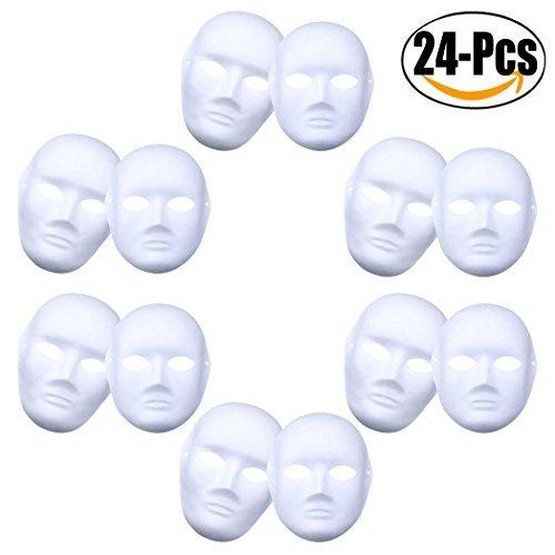 outgeek DIY Maske, weiße Maske, überstreichbare Papier-Maske für Karneval (12 Männer + 12 Frauen)
