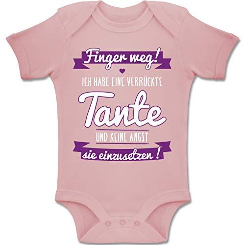 Shirtracer Sprüche Baby - Ich Habe eine verrückte Tante Lila - 6-12 Monate - Babyrosa - BZ10 - Baby Body Kurzarm Jungen Mädchen