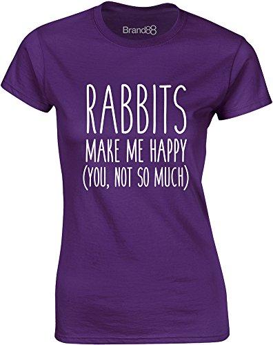 Brand88 - Rabbits Make Me Happy, Gedruckt Frauen T-Shirt Lila/Weiß