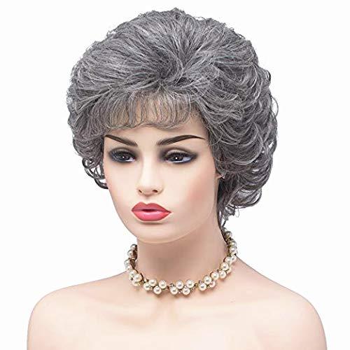 BESTUNG Damen Silber Grau Kurze Lockige Synthetische Volles Haar Perücken Natürliche Gewellte Flauschige Cosplay Oma Kostüm Perücke(EINWEG)