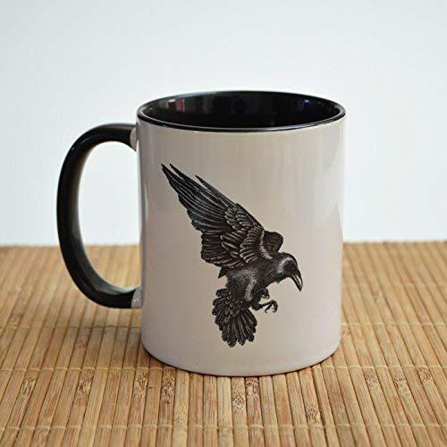 Rabe Art - Keramiktasse. Teebecher, Kaffeetasse. Rabe Geschenk.
