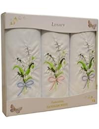 3 pack de Womens/dames blanches mouchoirs avec broderie florale & bordure Satin