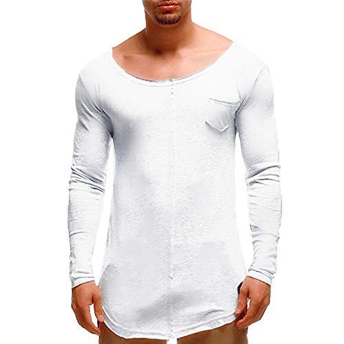 Herren Oberteile,TWBB Unregelmäßig Vintage Pullover Mit Tasche Sweatshirt Lange Ärmel Shirt